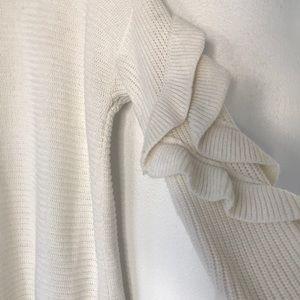 Haute Rogue Sweaters - Haute Rogue Staple White Ruffled Sleeve Sweater